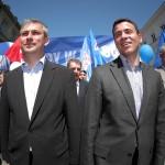 01.05.2009 WARSZAWA Grzegorz Napieralski , Wojciech Olejniczak , Janusz Guz podczas pochodu 1 maja.