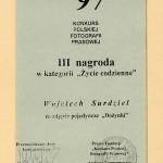 """Konkurs Polskiej Fotografii Prasowej 1997 - III nagroda w kategorii """" Życie codzienne """"."""