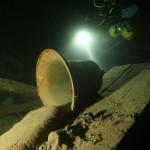 Dzwon okrętowy s/s Helge. Wrak zatopiony w czasie I Wojny Światowej leży na głębokości 45-54 metrów u wybrzeży Alandów.