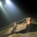Jedna z dłubanek leżących na głębokości ok. 36 metrów w jeziorze Hańcza. Czerwiec 2009 roku.